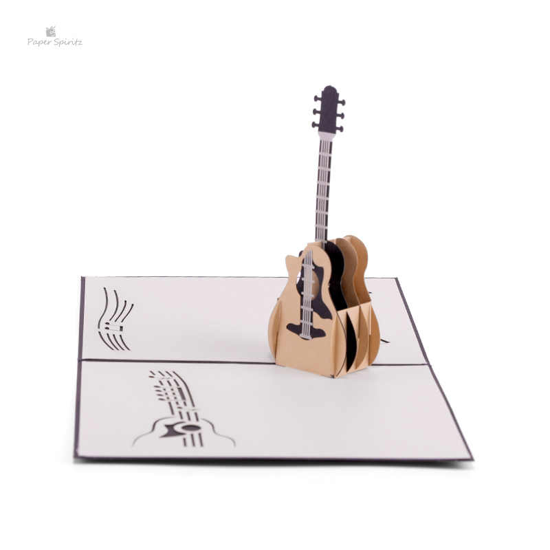 3D Pop Up Laser Cut Vintage Cards Guitar Postcards Happy Birthday Greeting Thank You For Lover Teacher Souvenir