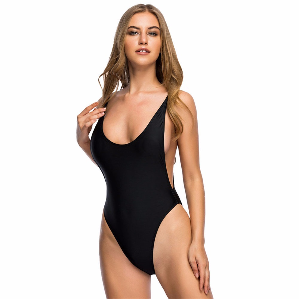 e12c5f0dc7f6d 2018 Red black Sexy high cut leg one piece swimsuit female Swimwear Women  bathing suit swim Bather for booty women monokini K113-in Body Suits from  Sports ...