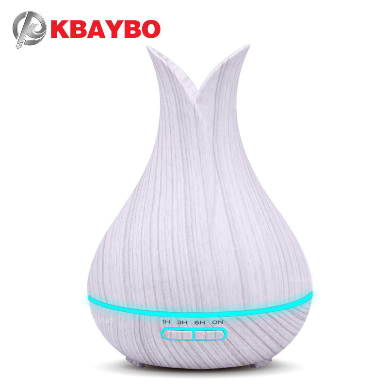 KBAYBO 400ml Ultrasonic Air Humidifier with white Wood Grain electric Aroma Essential Oil Diffuser Cool Mist maker for home