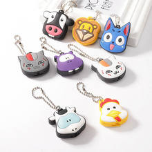 CA 1pc Silicone Key Ring Cap Head Cover With Light Keychain Cartoon Animal Shape Flexible rubber Key Protector LED Lamp Holder(China)