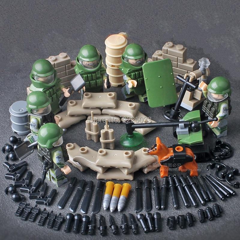 MOC Армия, совместимая leedinglys Военный Город Супер Полиция Против бомбы Группа Спецназ Строительные Блоки Игрушки Для Детей Подарок