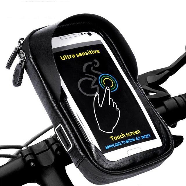 Soporte de teléfono Universal bicicleta de la motocicleta móvil soporte bolsa impermeable para iphone X 8 S8 S9 GPS soporte de bicicleta manillar bolsa