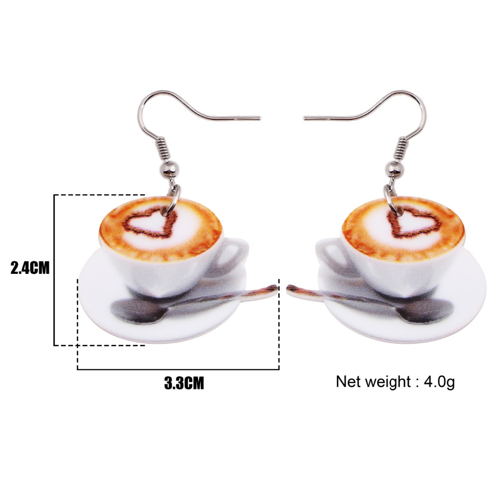 Weveni Lightweight Drop Dangle Big Heart In Coffee Cup Food Earrings For Women New Fashion Accessories Acrylic Printing Jewelry