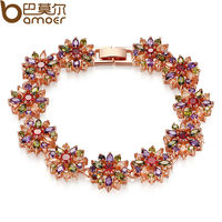 Bamoer 2014 New CZ Bracelet For Women Multi Color Prong Setting Swiss Zircon Best Gift For