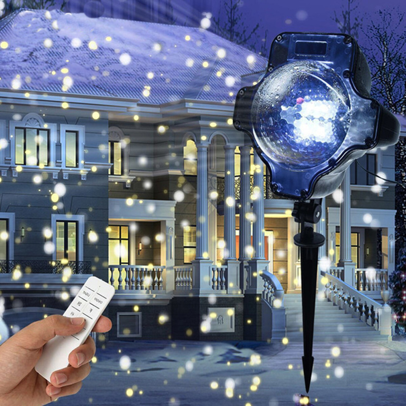 Christmas Snowflake Laser Light Snowfall Projector IP65 Moving Snow Outdoor Garden Laser Projector Lamp For New Year Party недорого