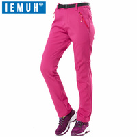 IEMUH Brand M 3XL Winter Women Warm Softshell Waterproof Pants Outdoor Sports Fleece Trousers Trekking Climbing