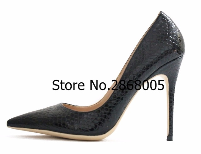 37dec489c103 Women Sexy Pointed Toe 12cm Thin High Heels Pumps Pretty Women Nude Snake  Printed Leather Heels Work Party Dress Shoes Discount