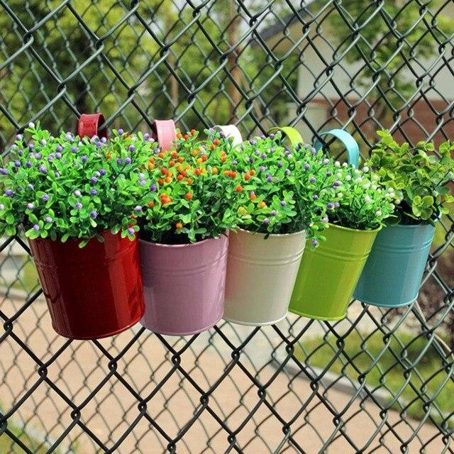 metal flower pot maceteros colgantes para plantas succulent planter bonsai pot vertical planter balcony decorations