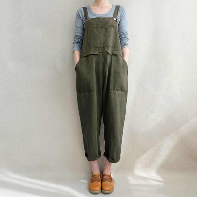 Хлопковые льняные комбинезоны брюки комбинезон карман Слинг сплошной цвет для женщин