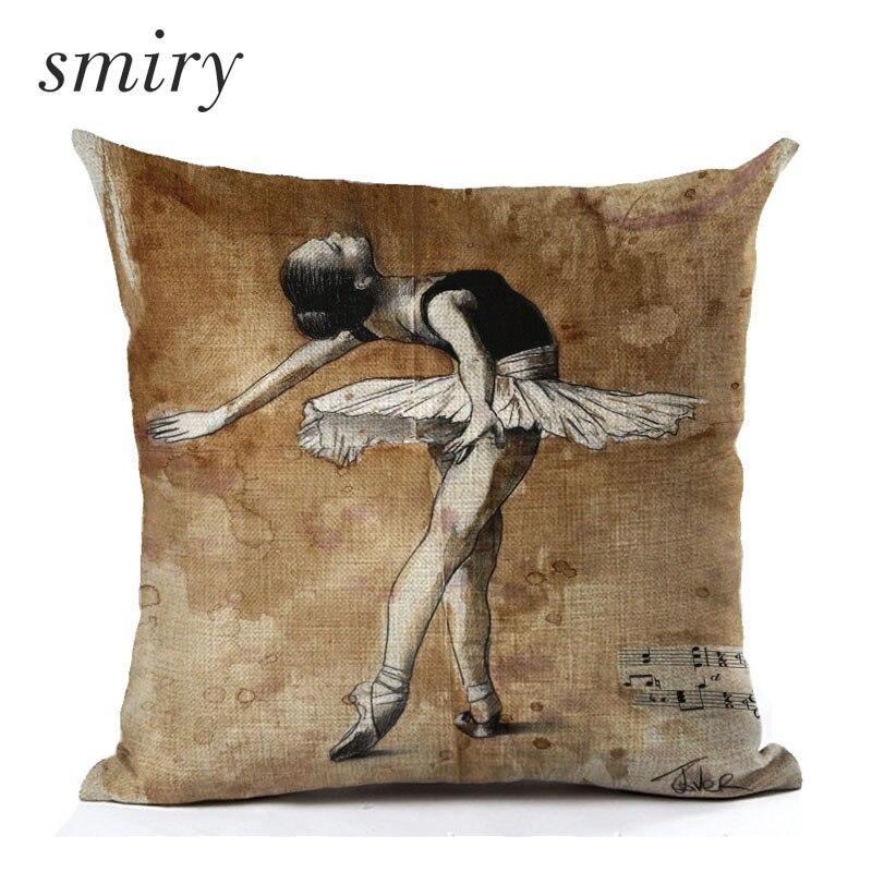 Ballet girl Cushion Cover Retro style Ballet notes Pillow case Invisible Zipper Cotton linen Square Pillow Cover cojines