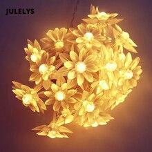 JULELYS 10M 80 נורות לוטוס פיות אורות LED גרלנד סוללה מופעל LED אור Gerlyanda חג המולד חדר מחרוזת אורות קישוט