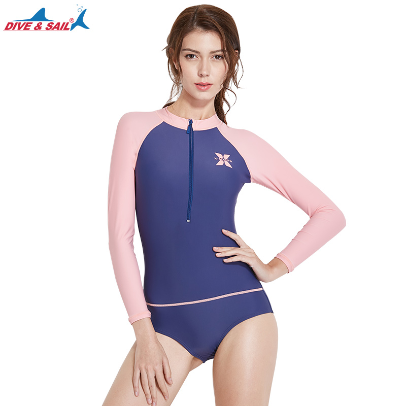 d0d6e92acf217d Women's Long Sleeve Rash Guards Front zipper One Piece Swimwear Dive Skin  Swimming Snorkeling Diving Surfing Suits UV UPF 50+-in Rash Guard from  Sports ...