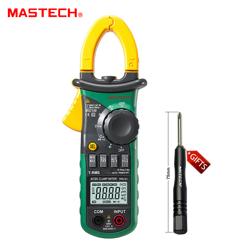 Mastech MS2108 Digital AC/DC Clamp Meter Multimeter LCD Display True RMS Auto/Manual Range Current Voltage Frequency Meter mastech my68 handheld lcd auto manual range dmm digital multimeter dc ac voltage current ohm capacitance frequency meter