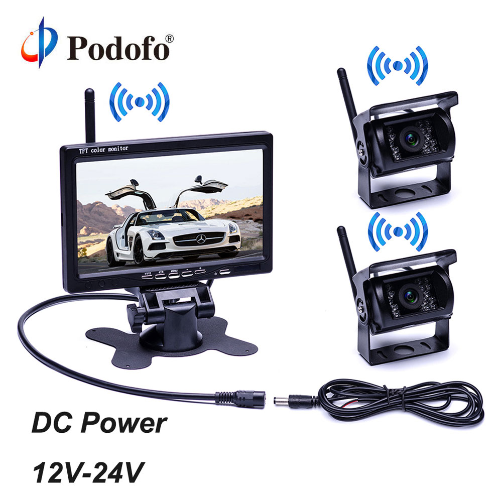 Podofo 7 Wireless Monitor Waterproof Vehicle 2 Backup Camera Kit TFT LCD Monitor Parking Assistance For