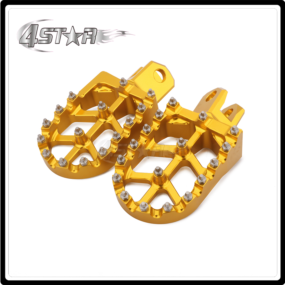 CNC Gold & Blue Motorcycle Foot Pegs Pedals Rests For SUZUKI RM125 RM250 RMX250 DRZ400 DRZ400E DRZ400S KAWASAKI KLX400R KX500 for kawasaki motocross spoke skins wheel rim spoke covers for kawasaki 500 kx 450 klx250 klx450r klr650 suzuki drz400 rmx250 new