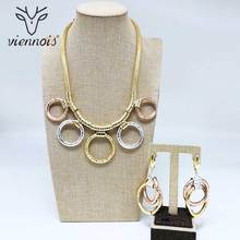 Viennois Gold Color Round Pendent Necklace Double Round Drop Earrings Jewelry Sets for Women Wedding Bridal недорого