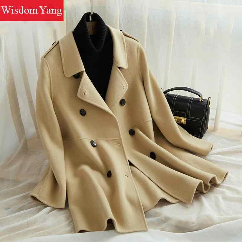 Элегантные зимние пальто свободного кроя верблюд синий Корейский отложным длинные Обувь с овечьей шерстью пальто Для женщин 2018 женский шерстяной пальто женские верхняя одежда