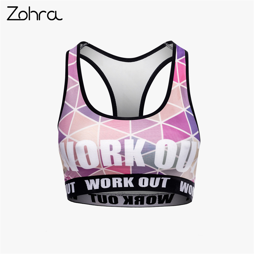 Zohra New Design Women Fitness Bra Fashion Triangle Printing Pink Tops Woman Elegant Breathable Short Clothes