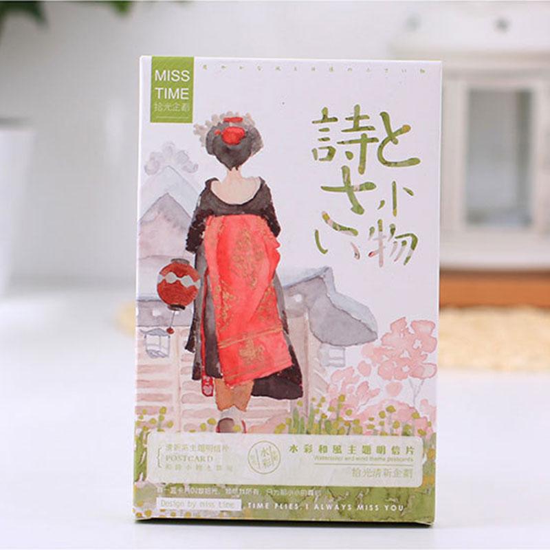 30 Pcslot Japanese Style Postcard Landscape Greeting Card