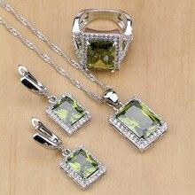 Místico del verde oliva CZ blanco ZIRCON 925 Juegos de joyería para las mujeres Pendientes/colgante/Collar/Anillos