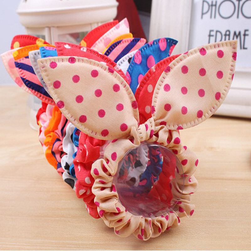 100Pcs Rabbit Ears Hair Tie/Ring Polka Dot Elastic Hair Band Hairbands Headbands Rubber Scrunchy Ponytail Holder Girls Headwear