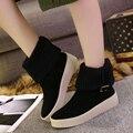 Moda Otoño E Invierno Zapatos de Las Mujeres 2016 Negro Beige Terdon Suela Botas de Tobillo de mujer 5 cm Altura Del Talón de Invierno Botas TPR Tamaño 35-39