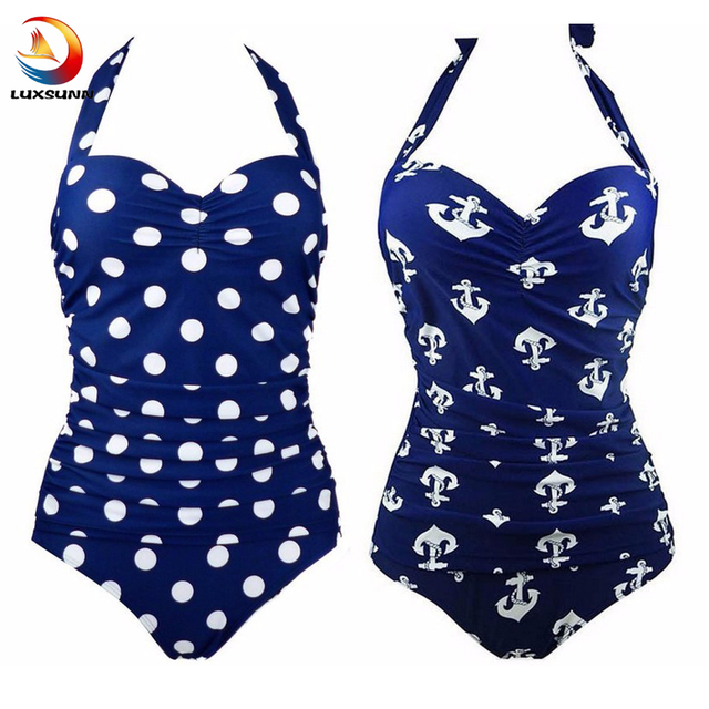Anchor Swimsuit Woman One Piece Retro Wave Point Plus Sizes Tall Waist Vintage Polka Dot One Piece Swimsuits Padpak Summer Wear