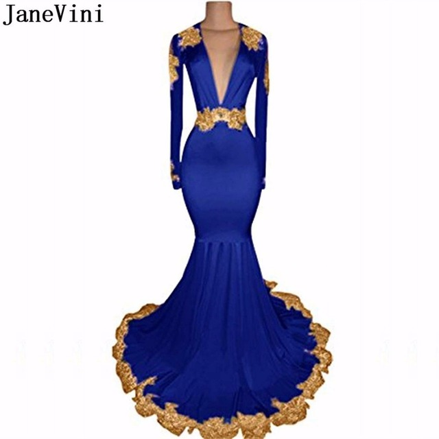 JaneVini Sexy African Royal Blue Prom Dress Deep V Neck Mermaid Bridesmaid Dresses Gold Lace Long Sleeve Wedding Party Gown 2018