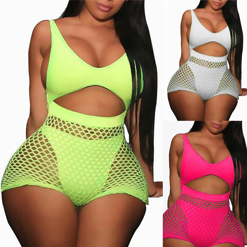 Women Sleeveless V-neck Fishnet Hollow Out Playsuit Hole Jumpsuit Romper Trousers Bodycon Playsuit Clubwear Backless Party Pants