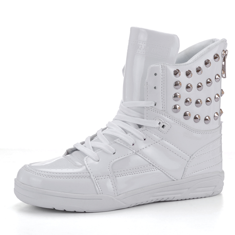 Korean Fashion Rivets Men's High Top Hip Hop Shoes Lace-up Flats Men Casual Shoes Mens PU Leather Shoes Zapatos Hombre T052703 variational method