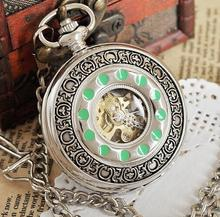Cool Steampunk Pocket Watch With Chain 2015 New Luxury Brand Silver Color Hand Wind Mechanical Pocket Watch PJX1027