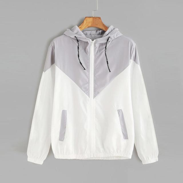 Women Basic Jackets Female Zipper Pockets Casual Long Sleeves Coats Autumn Hooded Jacket Two Tone Windbreaker Jacket 5