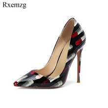Rxemzg big size 34-45 new 2019 fashion lipstick elegant lady pumps patent  leather pointed 795c91253c31
