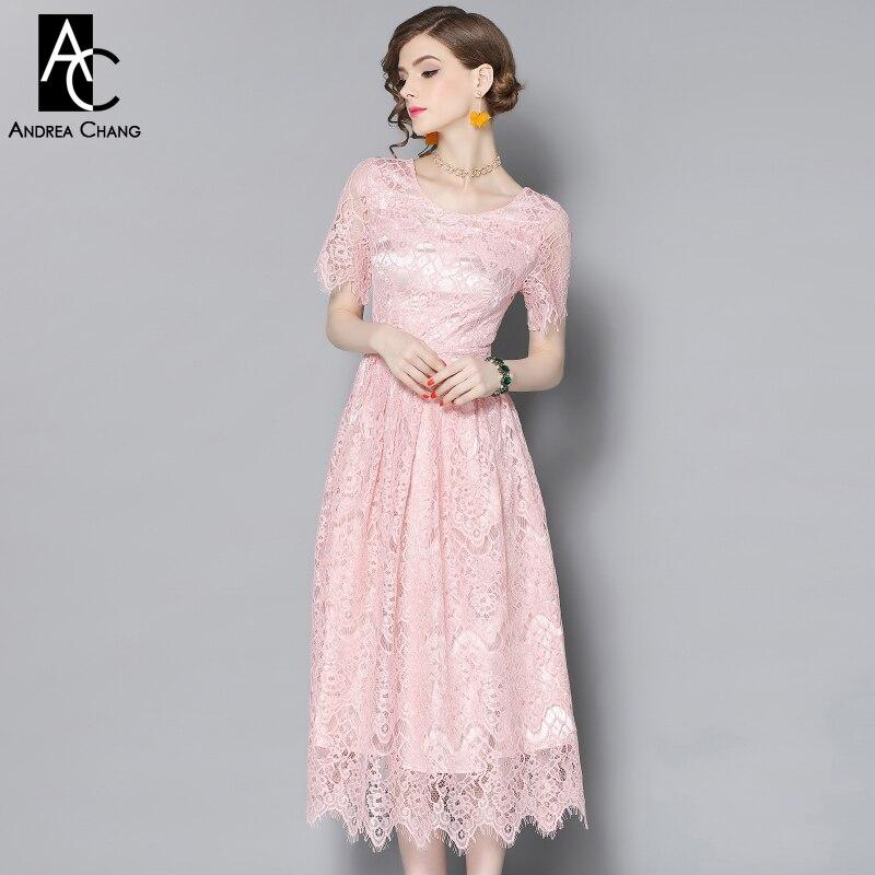 Spring Summer Runway Designer Womans Dresses Pink Lace
