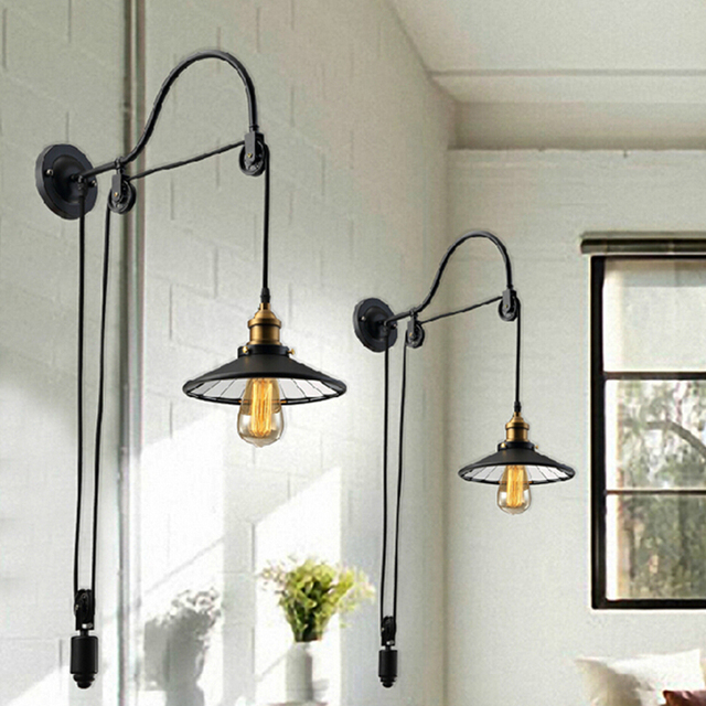 Us 1730 Czarny Retro Vintage Regulowany Pasowe Długość żelaza Szkła Czytanie ściany Lampy E27 światła Led Kinkiet Dla łazienka Sypialnia Biuro Bar