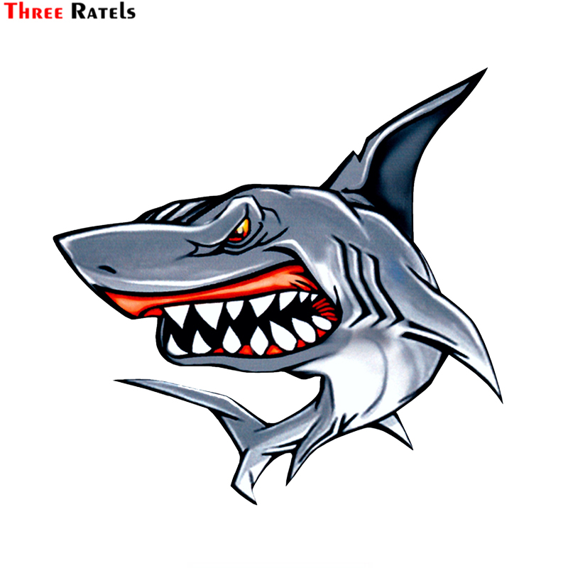 Three Ratels LCS281# 15.4x15cm Shark Colorful Car Sticker Funny Car Stickers Styling Removable Decal