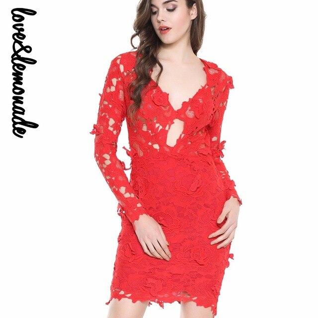 ... LoveLemonade Hollow Lace V-Neck Party Dress redwhite TB 10015 huge  selection of c80b6 ab505 ... 3681e329cc28