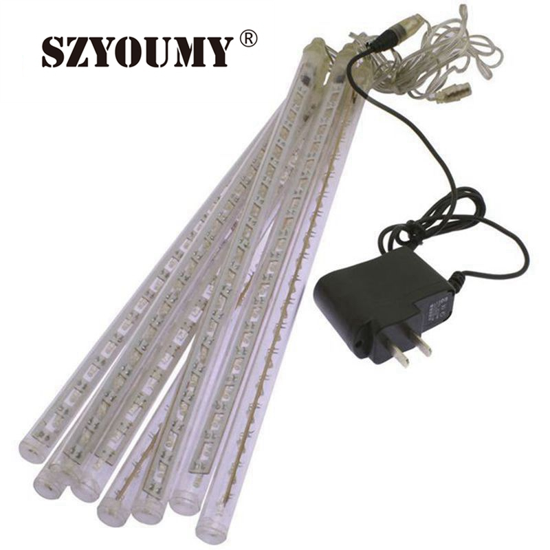 SZYOUMY Multi-Color 30CM Meteor Shower Rain Tubes AC100-240V LED Jul Lys Bryllupsfest Have Xmas String Light Outdoor