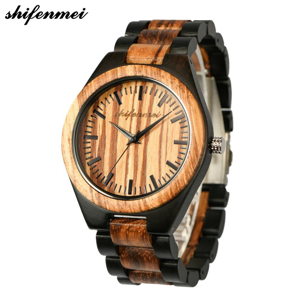 Shifenmei Customizable bottom cover wood watch Men Watch Stylish Wooden Timepieces Chronograph Quartz Watches relogio masculino