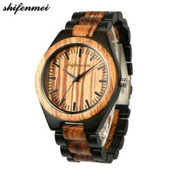 Shifenmei drewniany zegarek mężczyźni konfigurowalny dolna pokrywa zegarek stylowe drewniane zegarki Chronograph zegarki kwarcowe relogio masculino