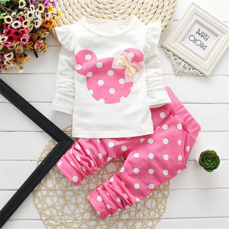 Kids Minnie Mickey Hello kitty Printed Clothing Girl Baby Sets Long Sleeve Cotton Toddler Clothes Set Children Suit T-Shirt+Pant 2016 new year girls mickey pajamas suit for 2 7years children nightgown pyjamas kids hello kitty minnie christmas pijamas