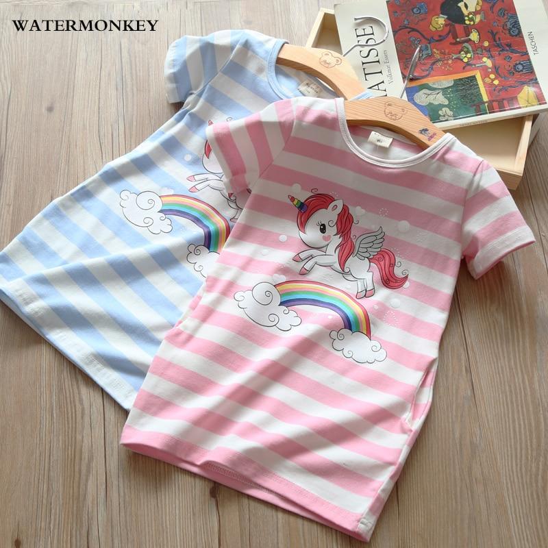d9a0ec5dc85f08 Meisjes gestreepte jurk Cartoon regenboog eenhoorn Print T-shirt ...