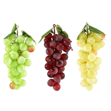 3pcs Artificial Grapes Mini Grape Clusters Rubber Bundles Decorative Bunches in Black Burgundy Red Green Faux Fruit