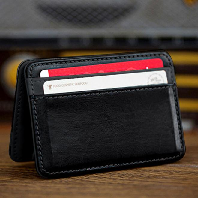 Mini Neutral Magie Bifold PU Leder Brieftasche Karte Halter Geldbörse Geld Halten Bargeld Wenig Dinge Karte Brieftasche freies verschiffen