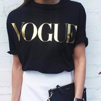 Fashion Brand VOGUE T Shirts Print Women T Shirts O Neck Short Sleeve Summer Tops Tees