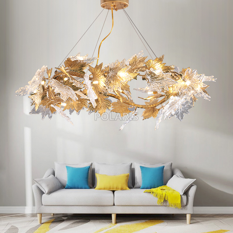 Modern Brass Chandelier Lighting LED Chandeliers Glass Drop Chandelier Lamp Copper Pendant Hanging Light for Living Dining Room