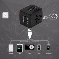 FORNORM Universal Travel Charger Adapter 4 USB Part Adaptor Worldwide Electrical Socket US UK EU AU International Travel Plug 1
