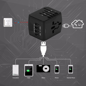 Image 2 - Fornorm旅行アダプタ国際ユニバーサル電源アダプタオールインワンと 6.3A 4 usb世界の壁の充電器英国/eu/au/アジア