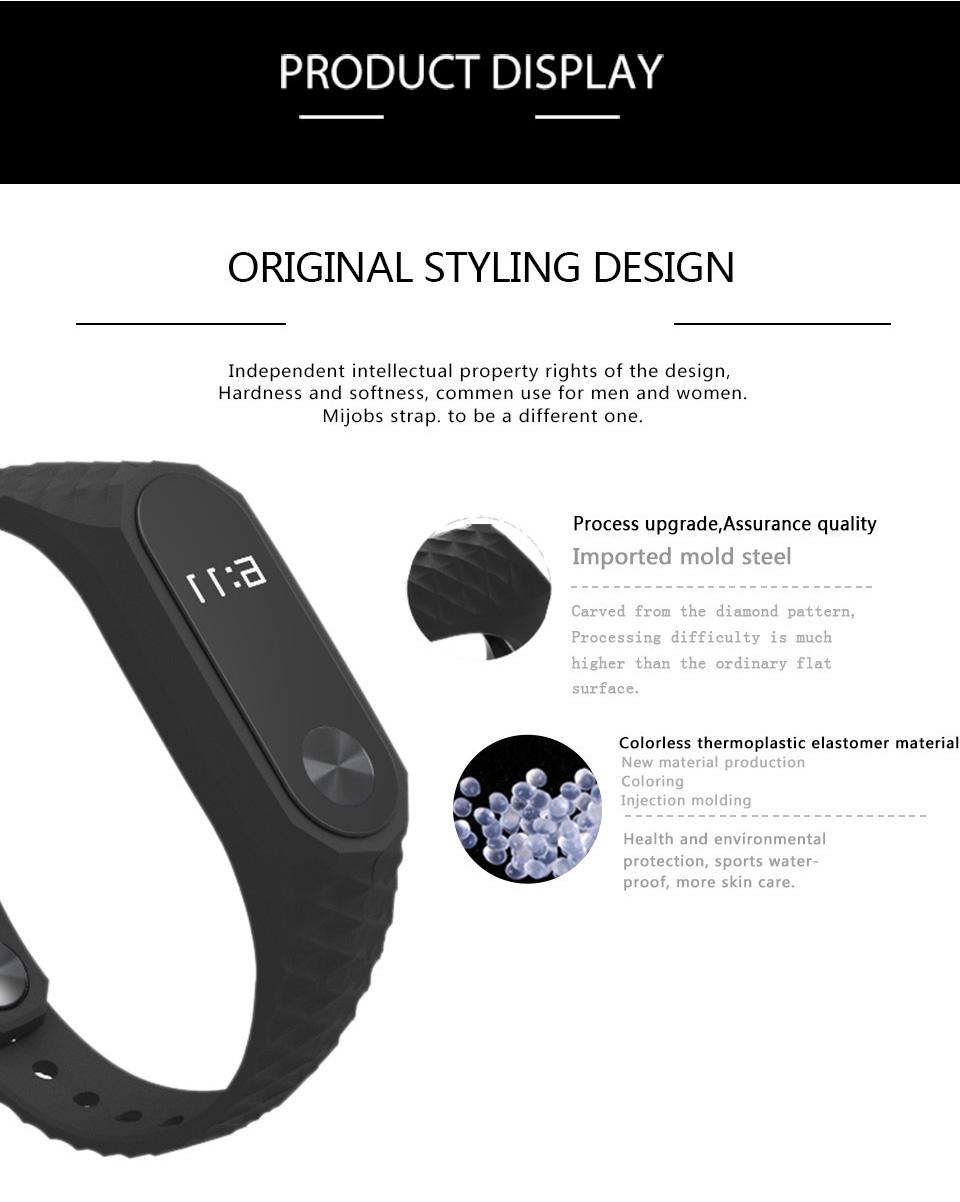 Mijobs Xiaomi Mi Band 2 Strap Silicone Strap Bracelet Replacement Wristband Smart Band Accessories Colorful wrist Strap 5