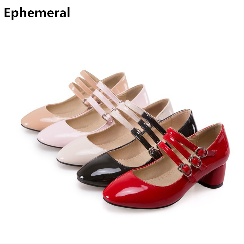 Im here for you Woman buckle strap sandals office lady shoes mujer zapato med heels new arrive 2017 European style plus size 46 47 45  red black